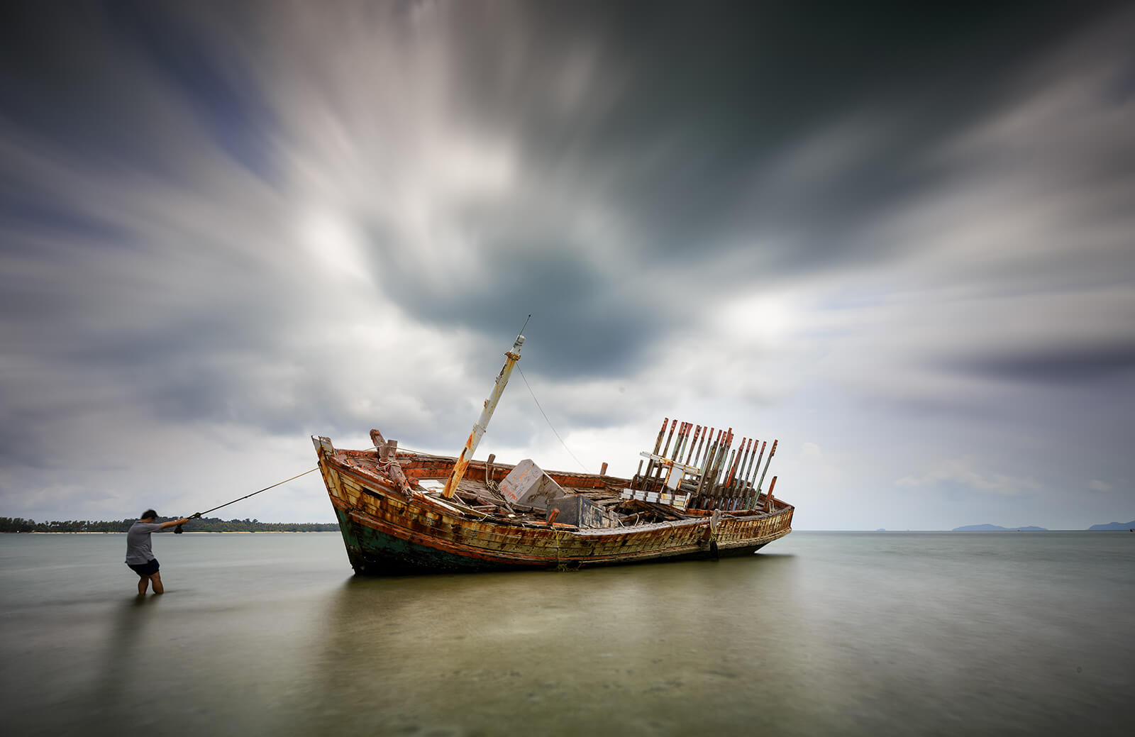 vintage fishing boat shipwreck background